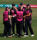 Lea Tahuhu is congratulated by her team-mates, Australia v New Zealand, Women's World T20 2016, Group A, Nagpur, March 21, 2016