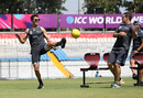 Trent Boult and Nathan McCullum test their football skills, Mohali, March 21, 2016
