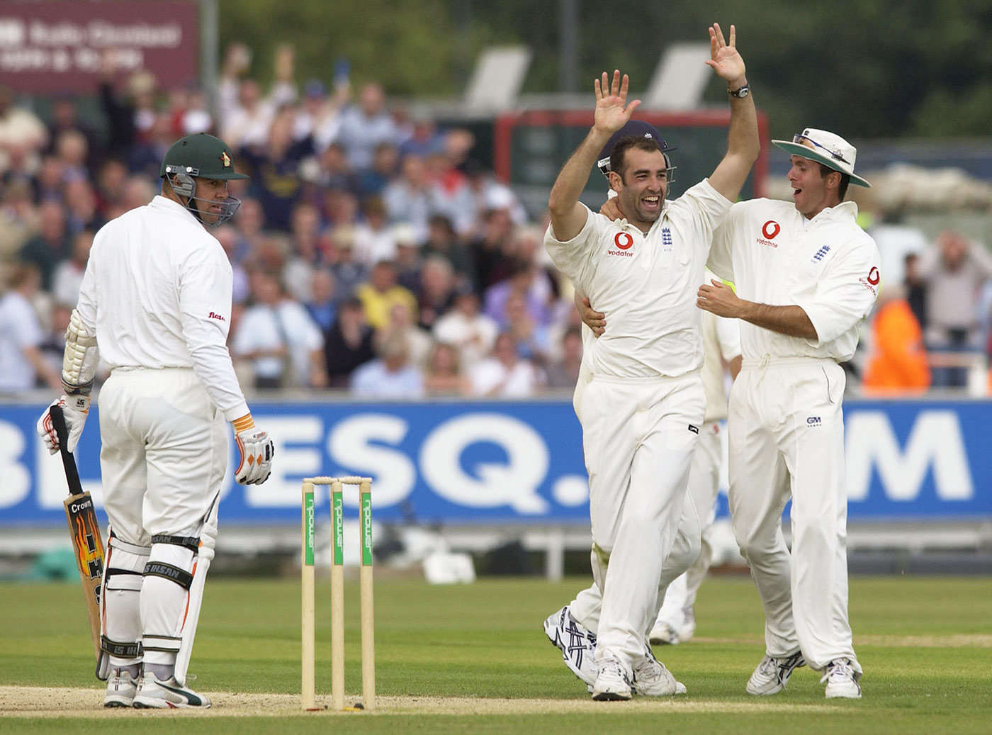 As good as it gets: Richard Johnson celebrates the fifth of his six wickets in Zimbabwe's first innings in the Durham Test of 2003