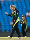 Kristen Beams is pumped after picking up a wicket, Australia v New Zealand, Women's World T20 2016, Group A, Nagpur, March 21, 2016