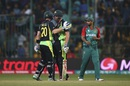 James Faulkner and Peter Nevill greet each other after sealing Australia's win, Australia v Bangladesh, World T20, Group 2, Bangalore, March 21, 2016