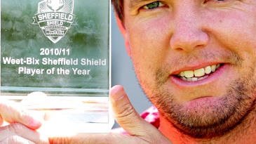 James Hopes poses with the award for the Sheffield Shield Player of the Year