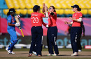 Heather Knight celebrates one of her three wickets, India v England, Group B, Women's World T20, Dharamsala, March 22, 2016