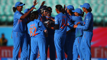 India players celebrate the wicket of Sarah Taylor