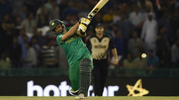 Shahid Afridi slogs into the leg side