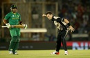 Adam Milne celebrates after dismissing Umar Akmal, New Zealand v Pakistan, World T20 2016, Group 2, Mohali, March 22, 2016