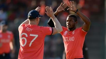 Chris Jordan celebrates the early wicket of Asghar Stanikzai