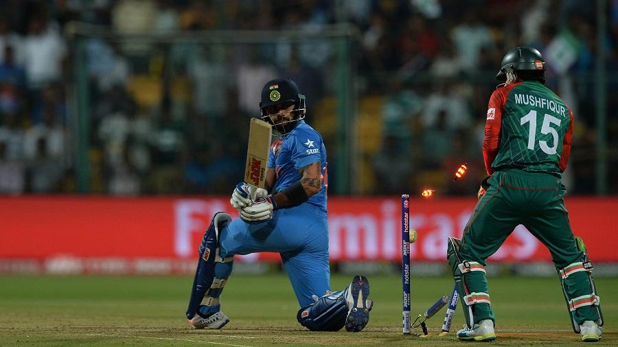 Virat Kohli was bowled for 24
