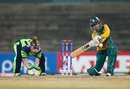 Trisha Chetty goes low for a slog sweep, Ireland v South Africa, Women's World T20, Group A, Chennai, March 23, 2016