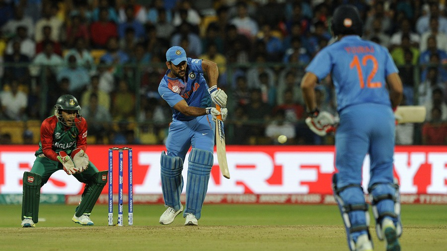 MS Dhoni works one into the leg side