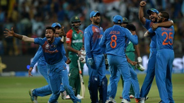 India celebrate their thrilling win