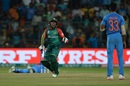 Mushfiqur Rahim is pumped after hitting a crucial boundary in the last over, India v Bangladesh, World T20 2016, Group 2, Bangalore, March 23, 2016