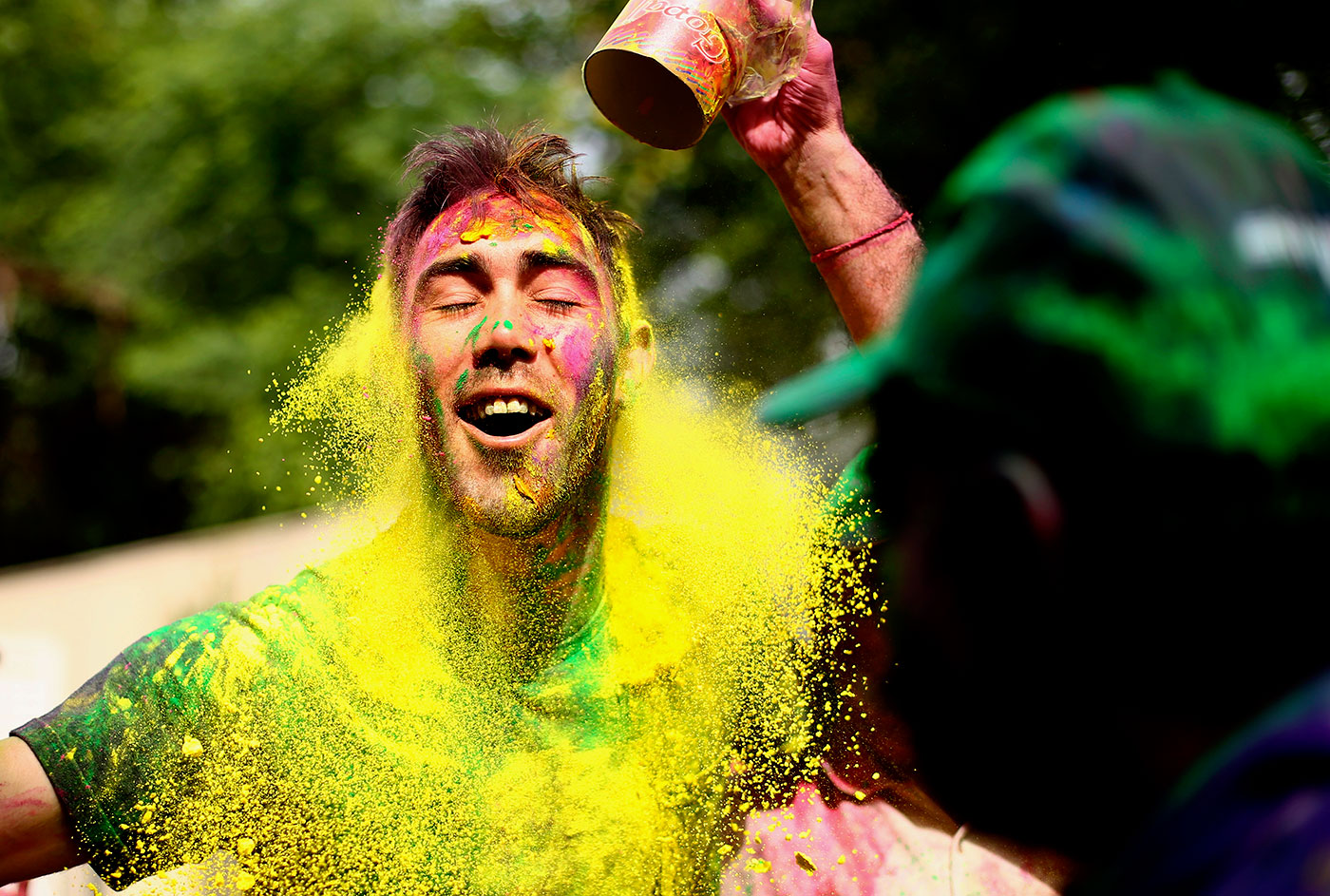 Glenn Maxwell soaks in the colours of Holi