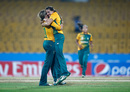 Sune Luus is congratulated by Dane van Niekerk after taking her fifth wicket, Ireland v South Africa, Women's World T20 2016, Group A, Chennai, March 23, 2016