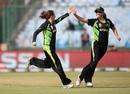 Erin Osborne and Meg Lanning celebrate after taking a wicket, Australia v Sri Lanka, Women's World T20 2016, Group A, Delhi, March 24, 2016