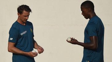 Dale Steyn and Kagiso Rabada await their chance in the nets