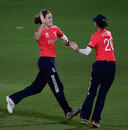 Lydia Greenway and Natalie Sciver celebrate a wicket, England v West Indies, Women's World T20, Group B, March 24, 2016