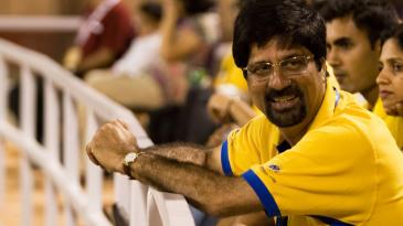 Kris Srikkanth watches the match at Eden Gardens