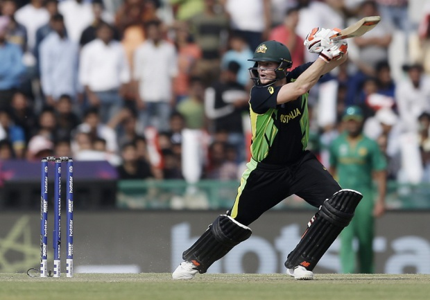 Steven Smith plays a cut, Australia v Pakistan, World T20 2016, Group 2, Mohali, March 25, 2016