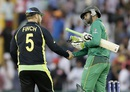 Aaron Finch and Shoaib Malik shake hands after the match, Australia v Pakistan, World T20 2016, Group 2, Mohali, March 25, 2016