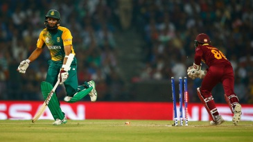 Hashim Amla was run out in the first over