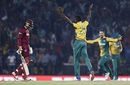 Kagiso Rabada got Chris Gayle for 4 in the first over, South Africa v West Indies, World T20 2016, Group 1, Nagpur, March 25, 2016