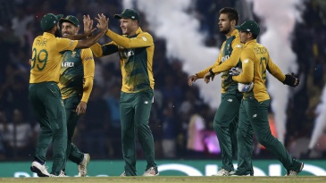 South Africa celebrate the fall of a wicket