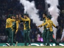 South Africa celebrate the fall of a wicket, South Africa v West Indies, World T20 2016, Group 1, Nagpur, March 25, 2016