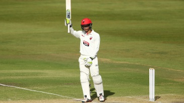Alex Carey acknowledges his half-century