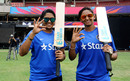 Veda Krishnamurthy and Harmanpreet Kaur pose for photos, Bangalore, March 14, 2016