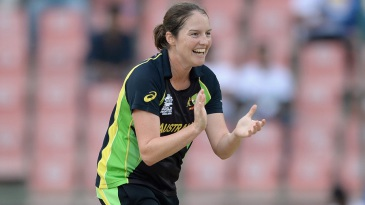 Rene Farrell celebrates one of her two wickets