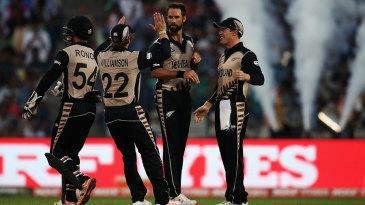 Grant Elliott celebrates a wicket with his team-mates
