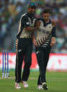 Ish Sodhi and Mitchell Santner share the joy of a wicket, Bangladesh v New Zealand, World T20 2016, Group 2, Kolkata, March 26, 2016