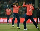 Chris Jordan celebrates a wicket with Alex Hales, England v Sri Lanka, World T20 2016, Group 1, Delhi, March 26, 2016