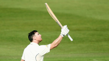 Travis Dean celebrates getting to triple digits in the Sheffield Shield final