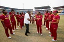 Evin Lewis receives his West Indies cap from Clive Lloyd, Afghanistan v West Indies, World T20 2016, Group 1, Nagpur, March 27, 2016