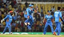 Afghanistan players celebrate their tense win, Afghanistan v West Indies, World T20 2016, Group 1, Nagpur, March 27, 2016