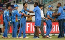 Chris Gayle and Phil Simmons congratulate the Afghanistan players after their win, Afghanistan v West Indies, World T20 2016, Group 1, Nagpur, March 27, 2016