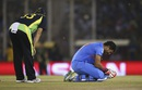 Yuvraj Singh picked up an ankle injury during his innings, Australia v India, World T20 2016, Group 2, Mohali, March 27, 2016