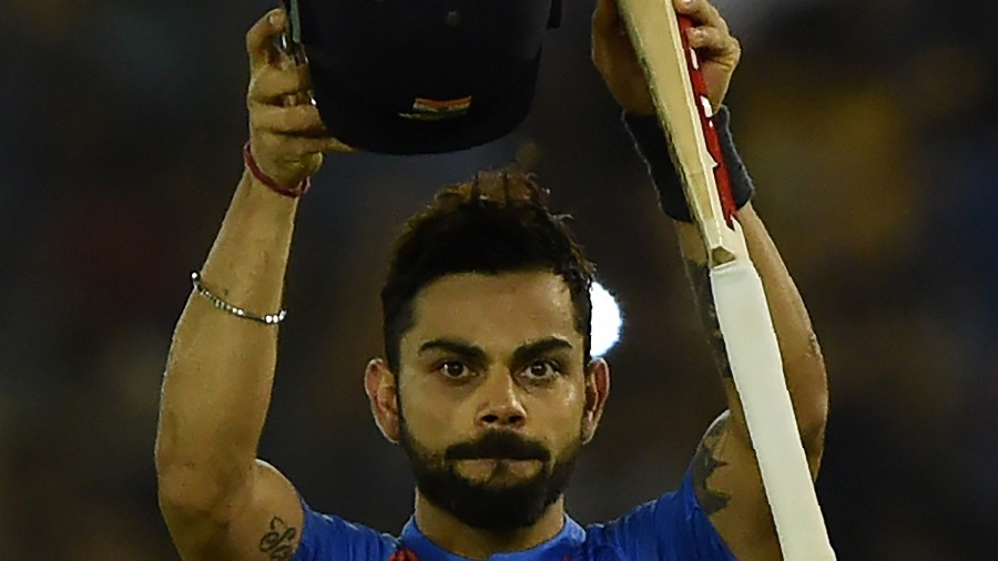 Virat Kohli acknowledges the applause after India's win