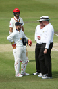 The on-field umpires talk to Matthew Wade before penalising Victoria for ball tampering, South Australia v Victoria, Sheffield Shield Final, Adelaide, third day, March 28, 2016