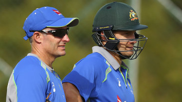 Michael Hussey with Shane Watson at training