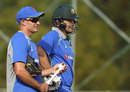 Michael Hussey with Shane Watson at training, Dharamsala, March 16, 2016