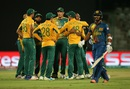 South Africa get together to celebrate the wicket of Dinesh Chandimal, South Africa v Sri Lanka, World T20 2016, Group 1, Delhi, March 28, 2016