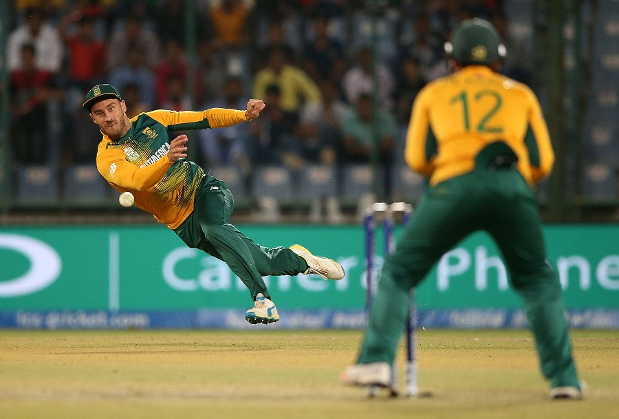 Faf du Plessis had a good day in the field, running out Milinda Siriwardana for 15