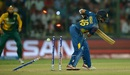 Jeffrey Vandersay was bowled for 3, South Africa v Sri Lanka, World T20 2016, Group 1, Delhi, March 28, 2016