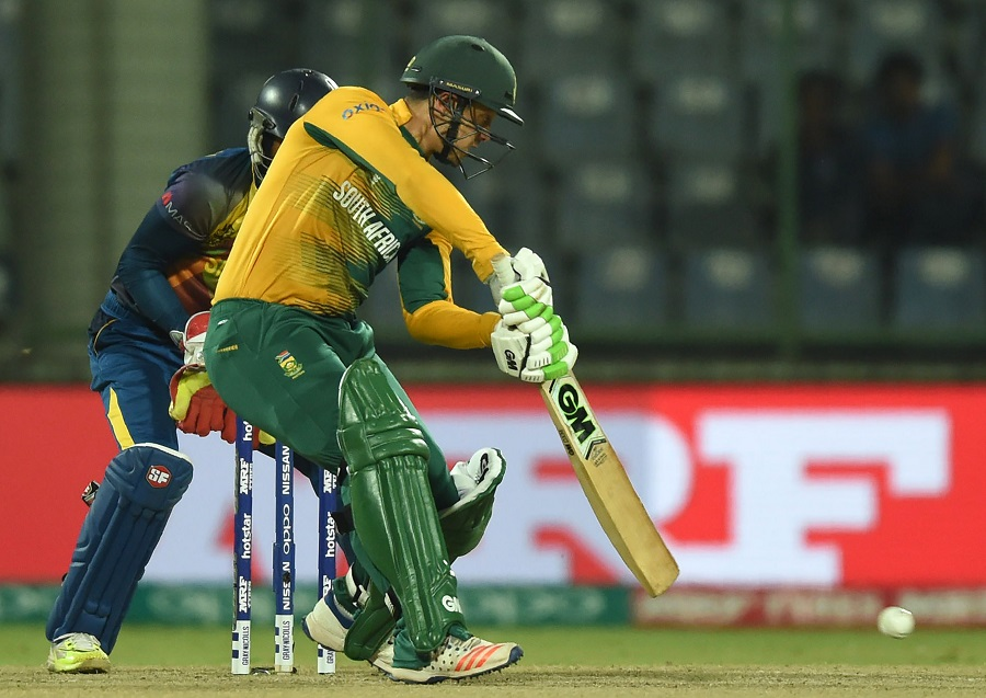 Quinton de Kock hit two fours before he was run out for 9