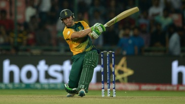AB de Villiers plays the ball into the leg side