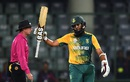 Hashim Amla raises his bat after reaching his fifty, South Africa v Sri Lanka, World T20 2016, Group 1, Delhi, March 28, 2016
