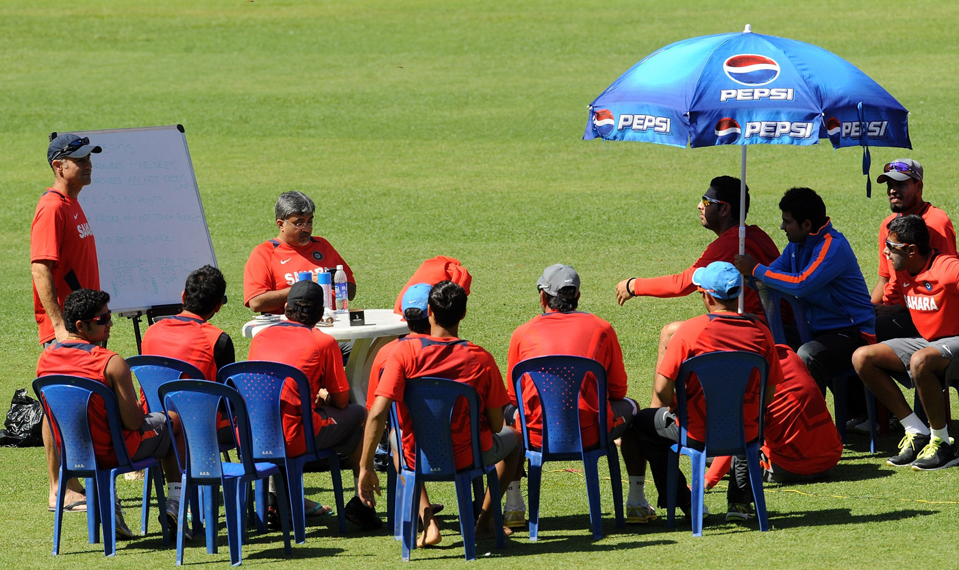 Paddy Upton (first from left) gives the Indian team one of many pep talks in the lead-up to the World Cup